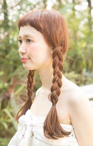 赤毛のアン風おさげヘア